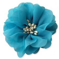 7cm Cherry Blossom in TURQUOISE BLUE Fabric Flower Applique